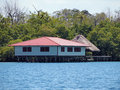 Typical caribbean stilt house Stock Images