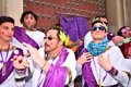 Typical carnival chorus (chirigota) in Cadiz. Royalty Free Stock Photo