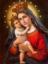 Typical catholic image of madonna with the child printed in germany from the end of cent sebechleby slovakia january originally by Royalty Free Stock Photos