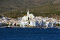Typical coastal mediterranean village of cadaques with the sea in foreground catalonia costa brava spain Stock Photos