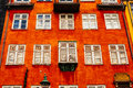 Typical colorful houses and building exteriors in copenhagen old town close up on windows details Royalty Free Stock Photography