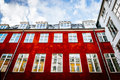Typical colorful houses and building exteriors in copenhagen old town close up on windows details Royalty Free Stock Image