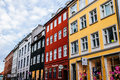 Typical colorful houses and building exteriors in copenhagen old town close up on windows and details denmark january Royalty Free Stock Photos