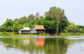 Typical countryside house on the riverbank Royalty Free Stock Photo
