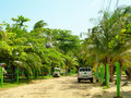 Typical dirt road corn island nicaragua Royalty Free Stock Photos