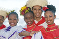 Typical dominican dancers santo domingo republic nov unidentified folkloric ready to perform in the public colonial festival on Royalty Free Stock Images