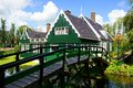 Typical dutch houses zaandam holland picturesque rural landscape with Royalty Free Stock Photography