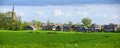 Typical dutch landscape in springtime in the netherlands panorama Stock Photography