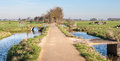 Typical Dutch polder landscape in autumn Royalty Free Stock Photo