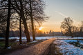 Typical Dutch winter landscape in January near Delden Twente, Overijssel Royalty Free Stock Photo