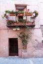 Typical facade balcony and door in Catalunya Royalty Free Stock Photo