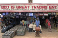 Typical ghanaian shop merchandise and sellers ghana city small town techiman african on the side of the street with the beautiful Royalty Free Stock Image