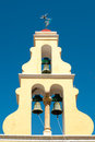 Typical greek bell tower with three bells and Royalty Free Stock Photos