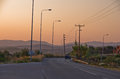 Typical greek coastal road at sunset with one pickup driving by sithonia greece Royalty Free Stock Photos