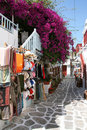 Typical Greek shopping street in Mykonos. Royalty Free Stock Images