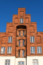 Typical historic storehouse with crow-stepped gable in red brick Royalty Free Stock Photo