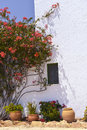 Typical house with flower pots in mallorca spain balearic islands Stock Photo