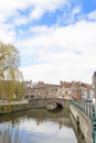Typical house in gent view with houses a bridge and a canal Stock Photos