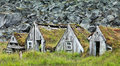 Typical houses icelandic with wooden windows Royalty Free Stock Images