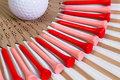 Typical Japanese hand fan and golf equipments