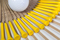 Typical Japanese hand fan made of bamboo and golf tees