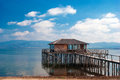 A typical lagoon house of the doirani area greece Stock Photo