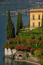 Typical lakeside mansion in varenna italy view of a with enchanting green garden lake como Stock Photography
