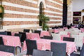 Typical little italian restaurant with empty tables Royalty Free Stock Photo