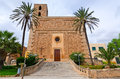 Typical majorca church beautiful entry side view Royalty Free Stock Images