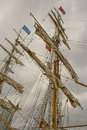 Typical Masts and rigging with ropes and cables of a tall ship sailing boat while on a visit to Belfast, Northern Ireland in 2015 Royalty Free Stock Photo