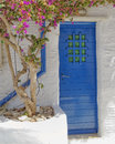 Typical mediterranean island house facade blue white Royalty Free Stock Photos