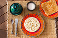 Typical moroccan breakfast with beghrir and m'semmen tender pancakes made from semolina flour Stock Image