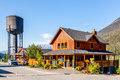 Typical mountain inn in canadian rockies wooden lodge field british columbia canada Stock Images