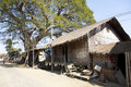 Typical myanmar street houses made of bamboo and resting on stilts in katha in Royalty Free Stock Photography