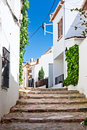 Typical narrow street in calella de palafrugell costa brava catalonia Royalty Free Stock Photo