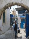 Typical narrow street in the medina bizerte tunisia Royalty Free Stock Photography