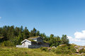 Typical norwegian building with grass on the roof see my other works in portfolio Stock Images