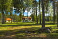 Typical Norwegian house in a forest. Royalty Free Stock Photos