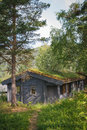 Typical norwegian house with grass on the roof weekend home a turfed Stock Photos