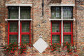 Typical old flemish window in bruges Royalty Free Stock Image