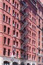 Typical old houses with facade stairs in Tribeca, NYC Royalty Free Stock Photo