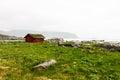 Typical red rorbu fishing hut in village , Lofoten Royalty Free Stock Photo