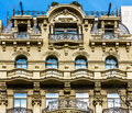 Typical Spanish balconies on imposing old building in Barcelona, Spain Royalty Free Stock Photo