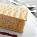 Typical spanish helado al corte or corte de helado ice cream sa sandwich with wafers served with syrup Stock Image