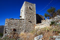 Typical stone tower houses ruins in vathia mani greece Royalty Free Stock Photos