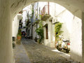 Typical street in Cadaques,Spain Royalty Free Stock Image