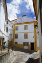 Typical street in castelo de vide narrow streets the historic part of alentejo portugal Royalty Free Stock Photo