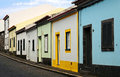 Typical street in ribeira grande azores islands portugal Royalty Free Stock Image