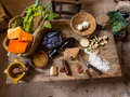 Typical table ii with vegetables and products Royalty Free Stock Photos