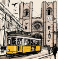Typical tramway in lisbon near se cathedral vector illustration Royalty Free Stock Photo